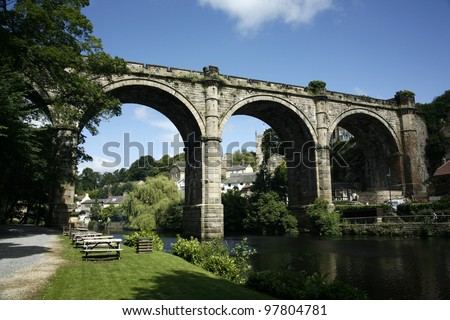 A viaduct in Knaresborough, North Yorkshire. - stock photo