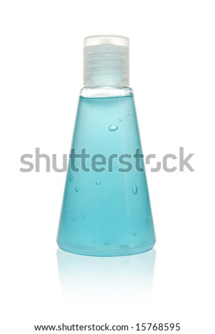 a vial of hand sanitizer on reflective surface with clipping path - stock photo