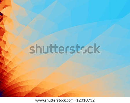 A vibrant background fractal beginning with deep indigo at the bottom left corner progressing through ruby,tangerine,peach and ending with aquamarine. - stock photo