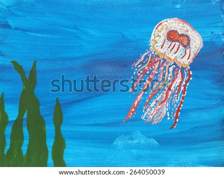 A vibrant painting of a jellyfish swimming under water. - stock photo