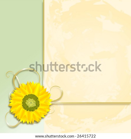 A vibrant sunflower and ribbons perch on a pastel green and parchment background. Spring colors featured.