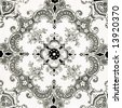 A Victorian black and white printed tile in the Aesthetic style - stock photo