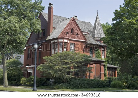 A victorian red brick house