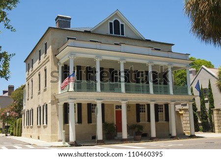 A Victorian style house built in the eighteen hundreds in Charleston, South Carolina. - stock photo