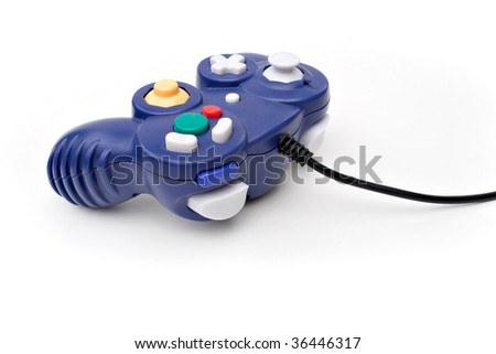A video game controller game pad isolated over white. - stock photo
