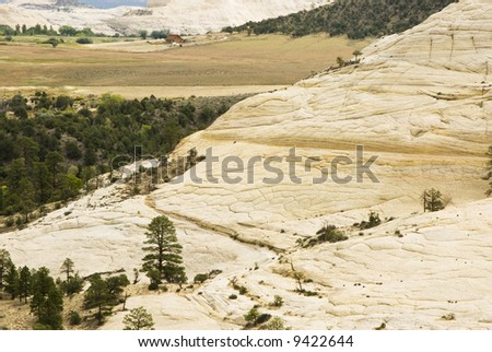 a view along a scenic byway in the Grand Staircase-Escalante National Monument in Southern Utah. - stock photo