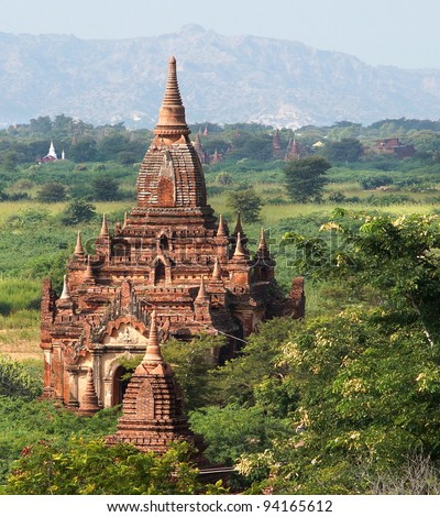 A view at the temples of Bagan in Myanmar - stock photo