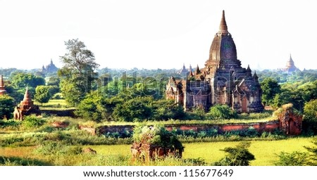 A view at the Valley of Bagan with his ancient temples  in Myanmar, Asia - stock photo