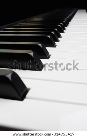 A view down a piano keyboard.