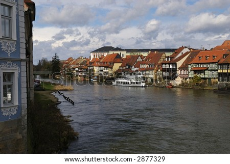 A view down the river in Bamberg Germany