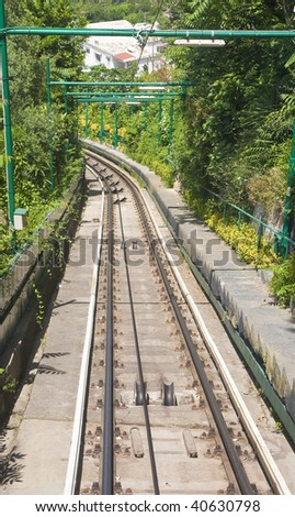 A view down trolley tracks on the island of capri