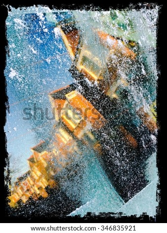 A view from a frosty car window - stock photo