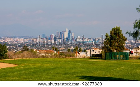 A view from a park of downtown Los Angeles - stock photo
