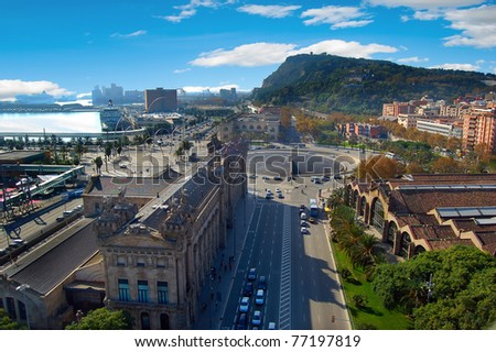 A view from above on Barcelona city - stock photo