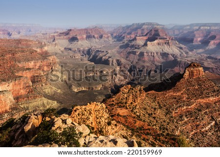 A view from above with the Grand Canyon, Arizona. - stock photo