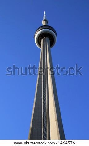 A view from below of the CN Tower in Toronto, Canada - stock photo