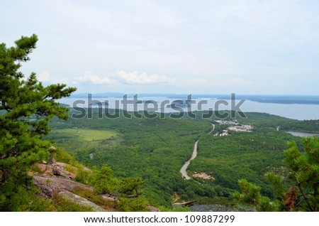 A view from Dorr Mountain in acadia nationa park - stock photo