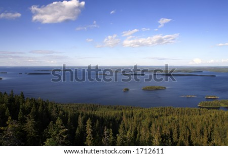 A View from Finnish national park Koli in eastern Finland - stock photo