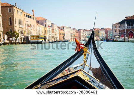 A view from gondola during the ride through the canals of Venice in Italy - stock photo