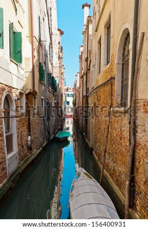 A view from gondola during the ride through the Grand Canal of Venice in Italy - stock photo