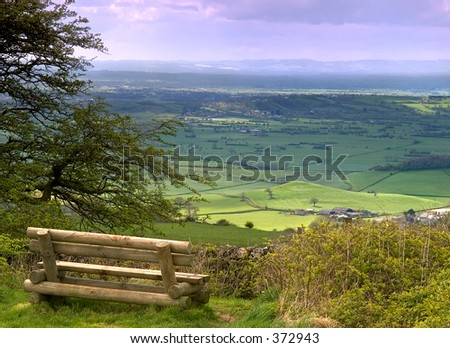 A view from on top of the Mendip hills in Somerset England - stock photo