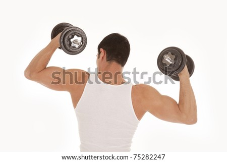 A view from the back of a man with his arms up and weights in his hands.