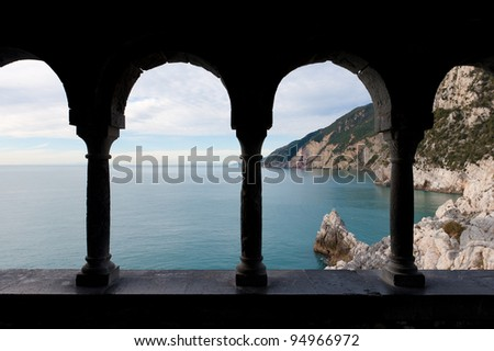 A view from the church in Portovenere, Italy - stock photo
