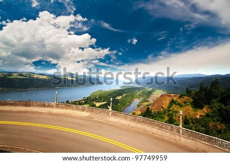 A view from The Columbia River George and the Vista Point - stock photo