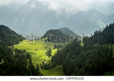 A view from the Herzogstand in the Alps of Bavaria Germany - stock photo