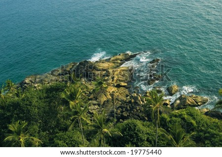 a view from the lighthouse, india, kerala, kovalam - stock photo