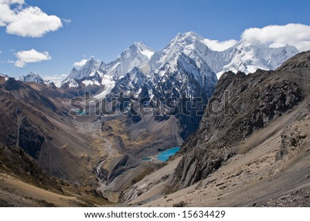 A view from the San Antonio pass, Huayhuash, Peru.