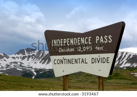A view from the top of Independence Pass in the Rocky Mountains of Colorado on the continental divide. - stock photo