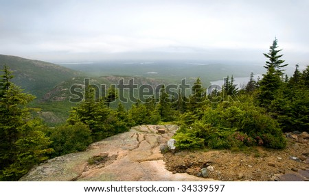 A view from the upper part of Pemetic Mountain in Acadia National Park in Maine