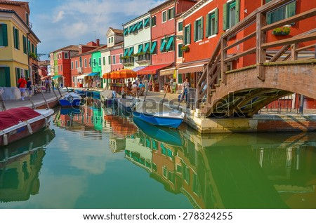 A view in Burano, Venice, Italy on 16 September, 2013 - stock photo