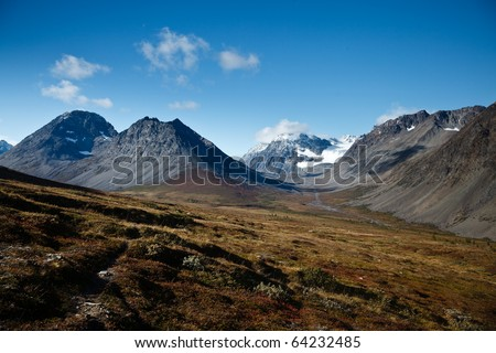 A view in mountainous terrain in norther Norway. - stock photo