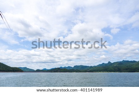 A View Mountain and River in Srinakarin Dam at Kanchanaburi , Thailand / Overview Focus