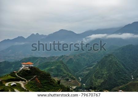 A view near Sapa, Vietnam - stock photo