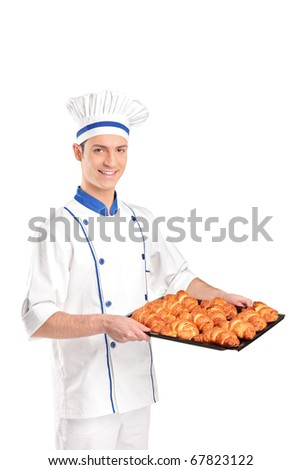 A view of a baker holding croissants isolated on white background