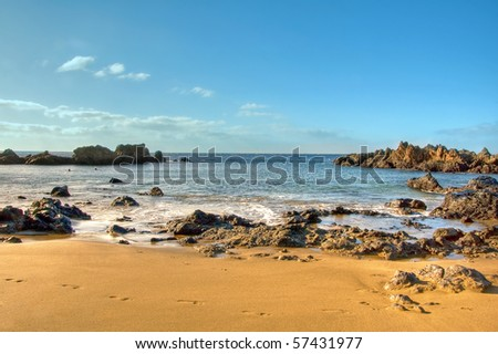 a view of a beach of Lanzarote, Canary Islands, Spain - stock photo