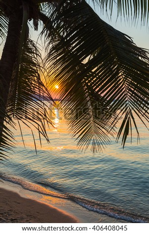 A view of a beach with palm trees  at sunset. Thailand. - stock photo