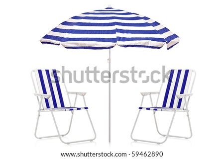 A view of a blue and white striped umbrella and beach chairs isolated on white background - stock photo