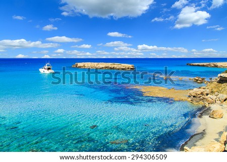 A view of a Blue Lagoon near Polis city, Akamas Peninsula National Park, Cyprus - stock photo