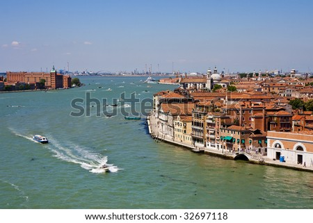 A view of a canal in Venice Italy
