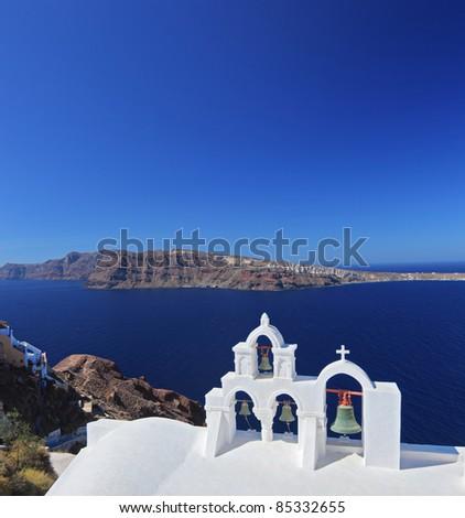 A view of a church bells on Santorini island, Greece - stock photo