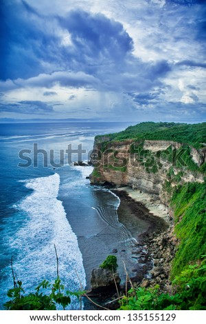 A view of a cliff in Bali Indonesia - stock photo