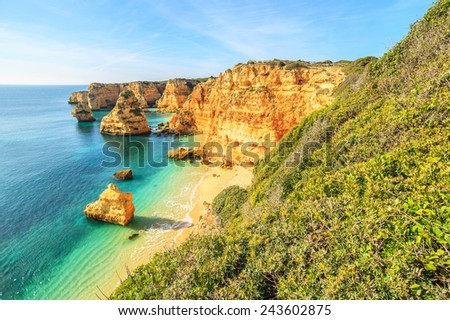 A view of a cliffs near Lagos City, Algarve region, Portugal, Europe - stock photo