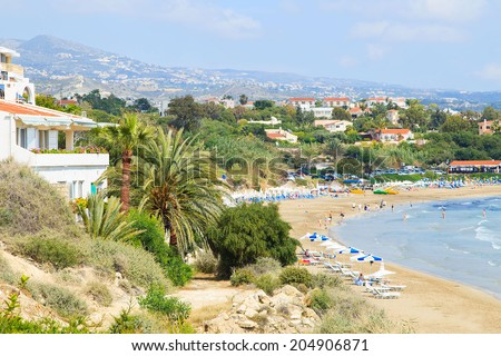 A view of a Coral beach in Paphos, Cyprus - stock photo