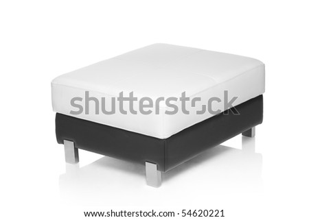 A view of a footstool isolated against white background - stock photo