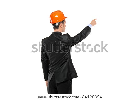 A view of a foreman in a suit pointing isolated against white background