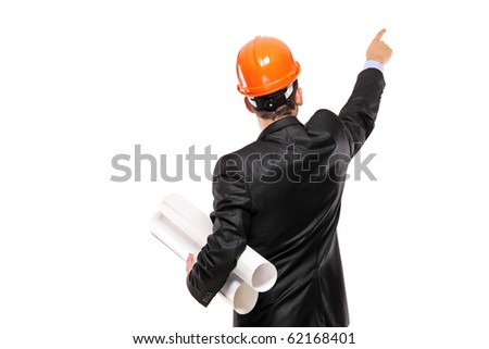 A view of a foreman in suit pointing isolated on white background - stock photo